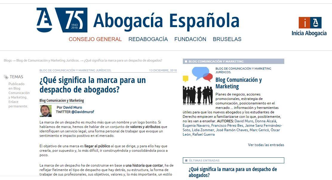 """David Muro participa en el Blog de CGAE: """"¿Qué significa la marca para un despacho de abogados?"""""""