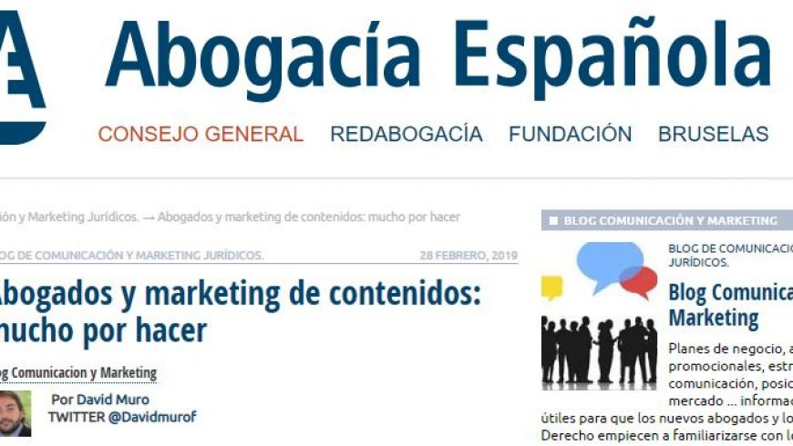 David Muro interviene en el blog de Marketing y Comunicación del Consejo General de la Abogacía