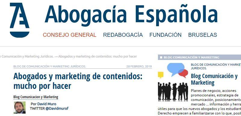 David Muro interviene en el blog de Marketing y Comunicación del Consejo General de la Abogacía