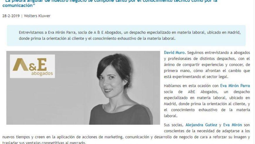 David Muro habla con… Eva Mirón, Socia de A&E Abogados