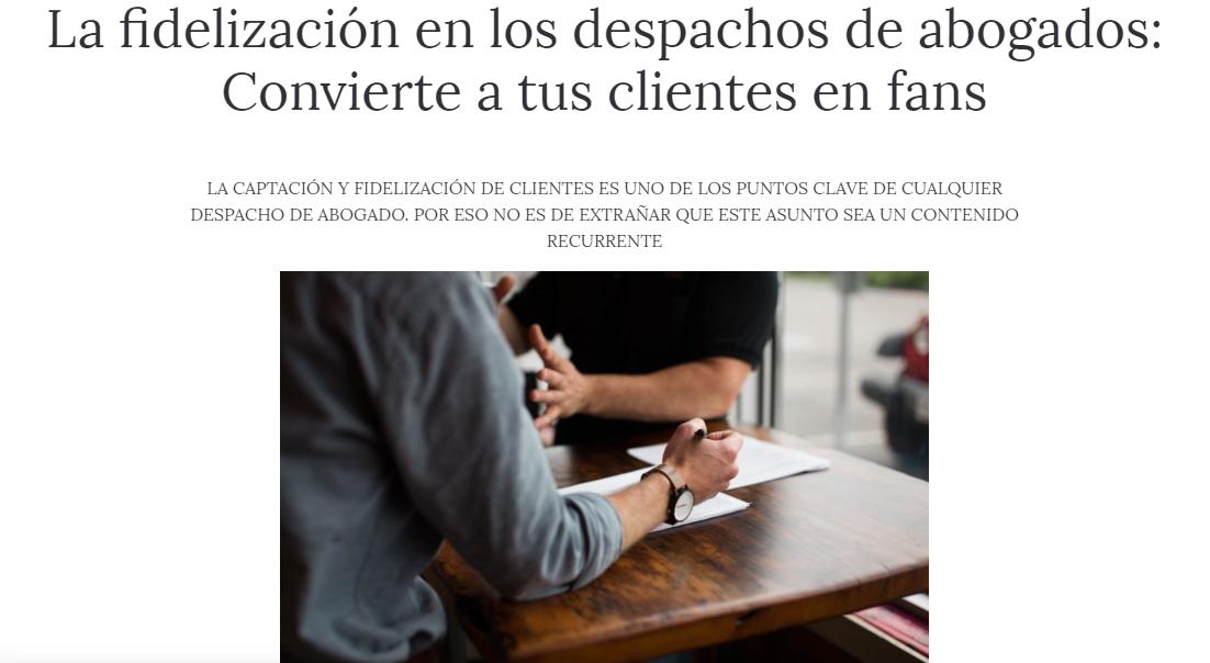 La fidelización en los despachos de abogados