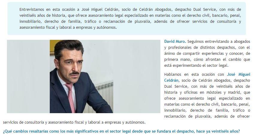 David Muro habla con… Jose Miguel Celdrán, Socio de Celdrán Abogados