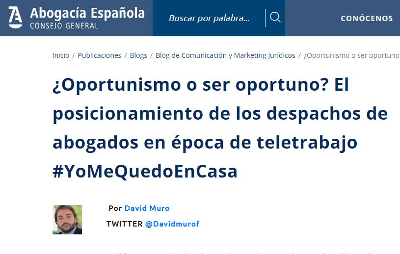 David Muro interviene en el blog del Consejo General de la Abogacía Española